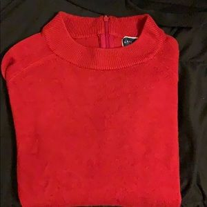 Red Semi Turtle Neck Long Sleeve Sweater